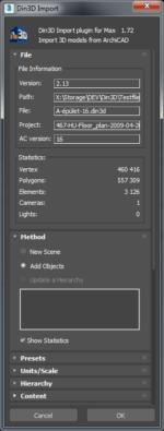 Din3D importer for 3ds Max - Dialog part 1