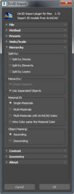 Din3D importer for 3ds Max - Dialog part 3