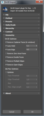 Din3D importer for 3ds Max - Dialog part 5