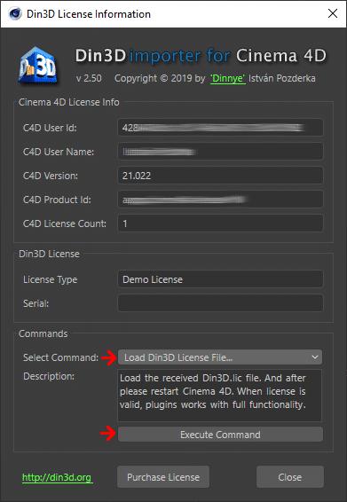 Load Din3D License