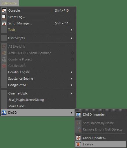 Din3D License menu