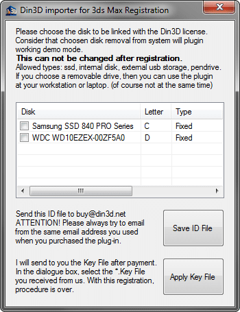 Din3D importer for 3ds max Registration Utility - Dialog init