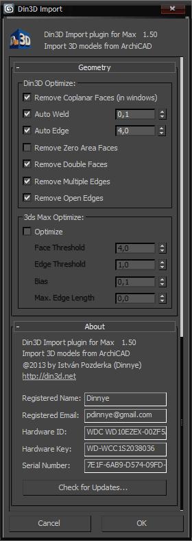 Din3D importer for 3ds Max - Dialog part 4